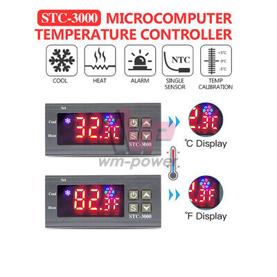 Stc-3000 Digital Display Temperature Humidity Controller Thermostat Sensor Dc12v