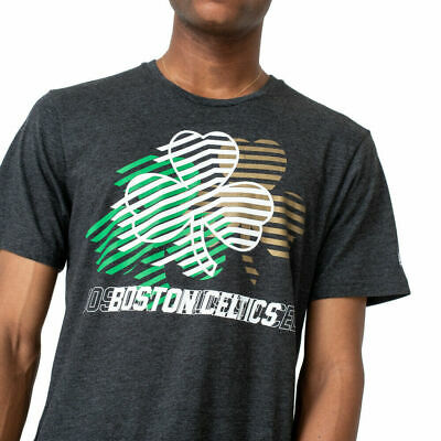 New Era Men's NBA Boston Celtics Repeat Logo Grey Green Gold Tee