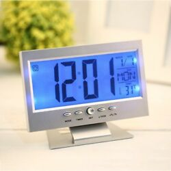 LCD Alarm Desk Clock Voice Control Back-light Weather Monitor Calendar with temp
