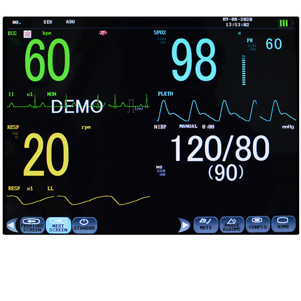 NEW HOSPITAL ICU MULTI-PARAMETER VITAL SIGNS PATIENT MONITOR CARDIAC MACHINE 9000A