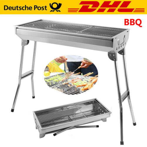BBQ Edelstahl Holzkohlegrill Klappgrill Outdoor Standgrill Tragbar Camping Grill