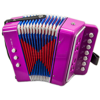 *GREAT GIFT* NEW Top Quality Pink Accordion Kids Musical Toy w 7 Buttons 2 Bass
