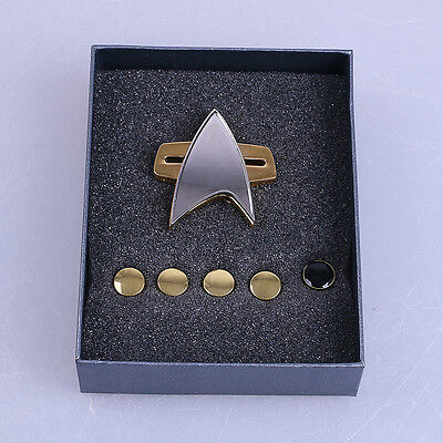 New Star Trek Badge Voyager Communicator Pin Brooch and Rank Pips Prop Set Of 6