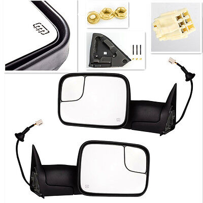 98-02 Dodge Ram Truck Power Tow Flip Up Heated Towing Side Mirrors Pair Set