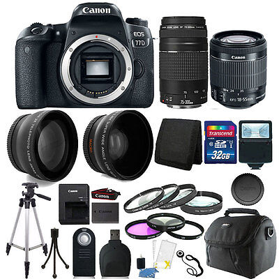 Canon EOS 77D 24.2MP DSLR Camera + 18-55mm + 75-300mm + 32GB Accessory Bundle