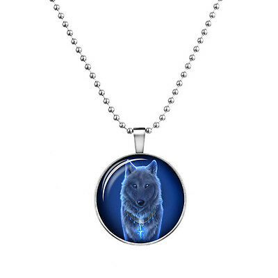 """Wolf Charm Pendant Fashionable Glass Necklace - Glow in the Dark - 23"""" Chain"""