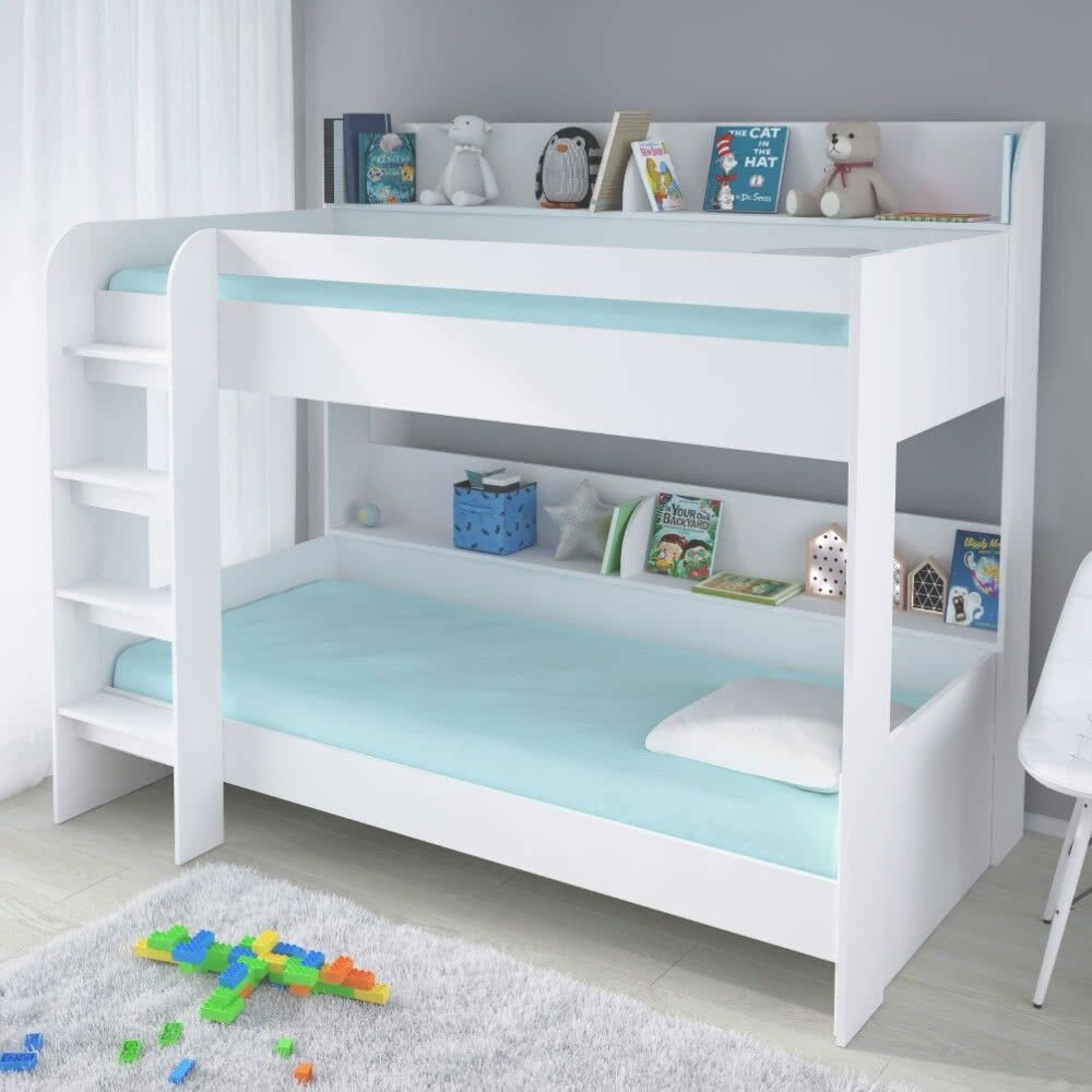 Kids White Single Bunk Bed Storage Shelves 190 90 Single Boy Girl