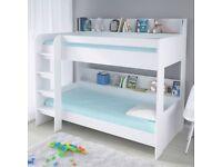 Kids White Single Bunk Bed Storage Shelves 190 90 Single Boy Girl