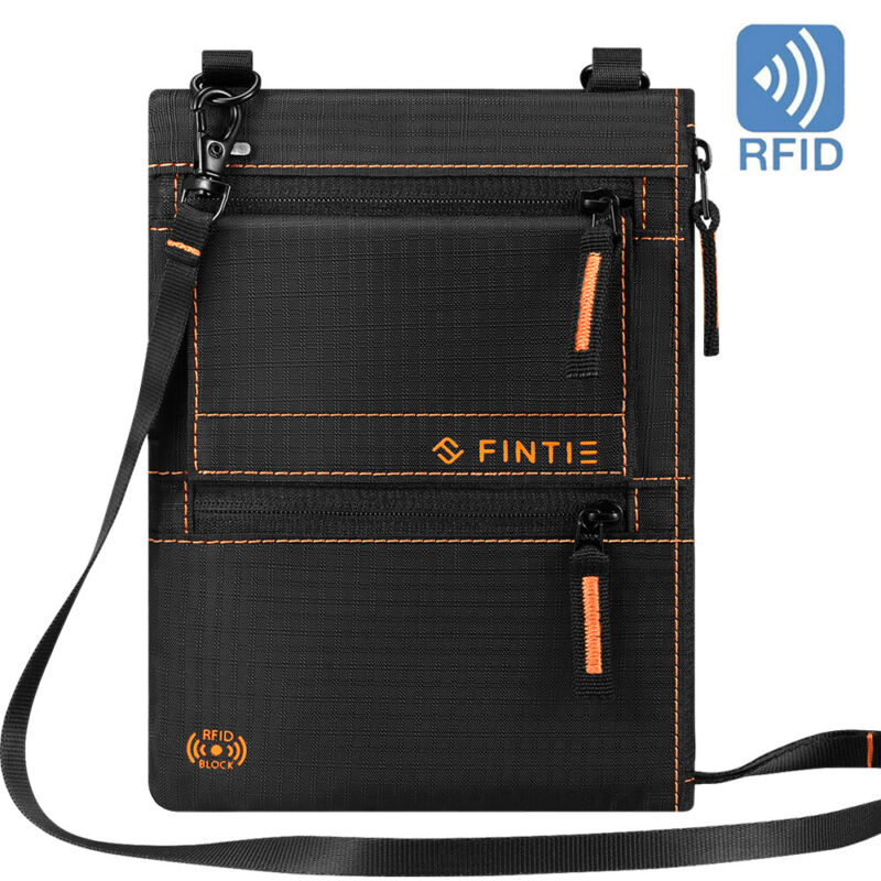 Travel Passport Holder Security Neck Stash Pouch Wallet Bag with RFID Blocking