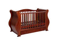Tutti Bambini Louis Sleigh Cotbed Walnut; all parts + mattress in good condition;