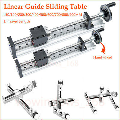 Manual Linear Rail Guide Slide Stage Actuator Ball Screw Motion Table Handwheel