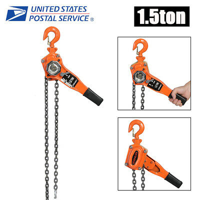 1-1/2 TON LEVER BLOCK HOIST CHAIN RATCHET COME ALONG CHAIN HOIST ()