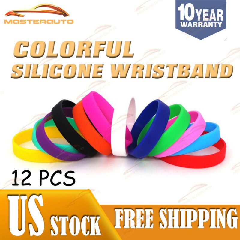 Rubber Silicone Bracelet Blank Wristband Multi Color Wrist Band Dozen
