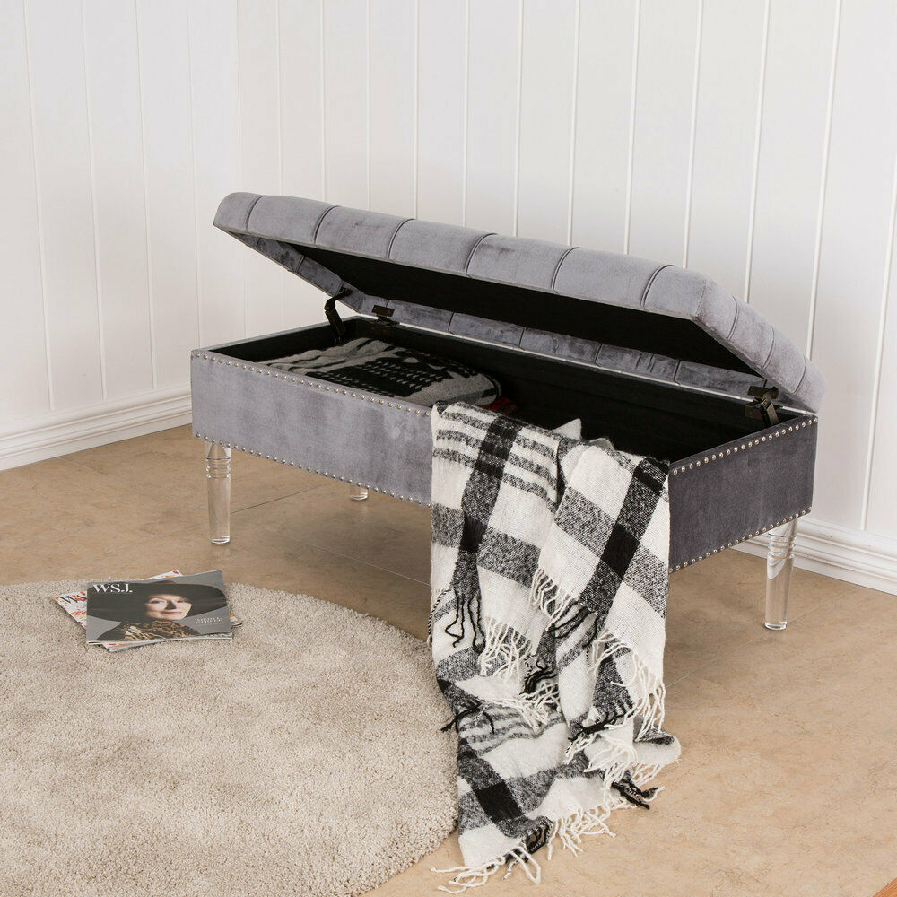 Glitzhome High Quality Upholstered Tufted Bench Ottoman