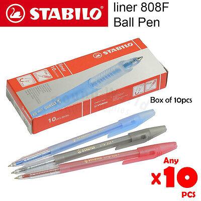10pcs Stabilo Liner 808f 0.7mm Fine Ball Pen In Box Assorted Color