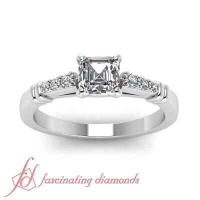 .60 Ct Asscher Cut Cathedral Style Diamond Ring For Her With Round Accents GIA 1