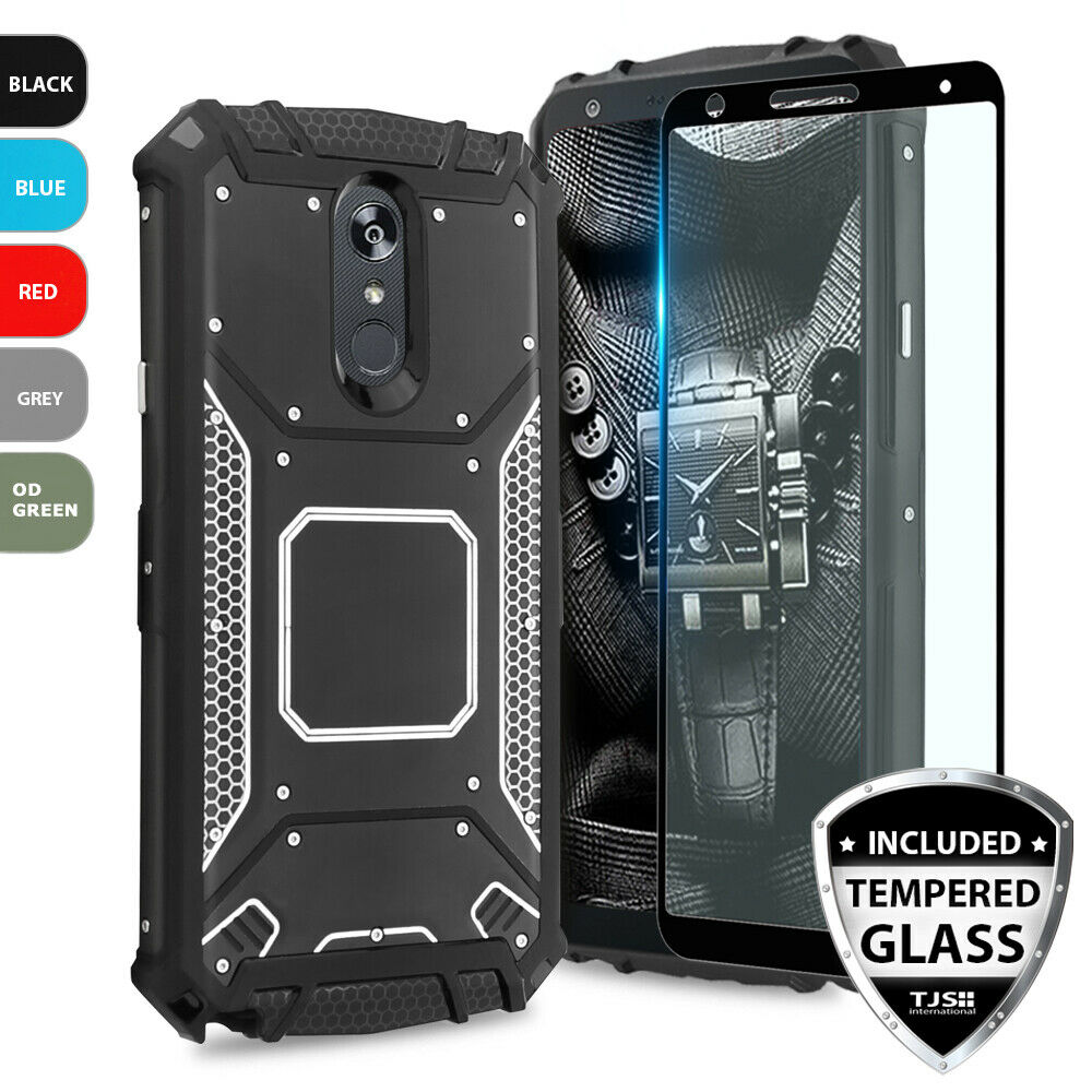 For LG Stylo 5 Metal Plate Magnetic Support Hard Phone Case+Black Tempered Glass
