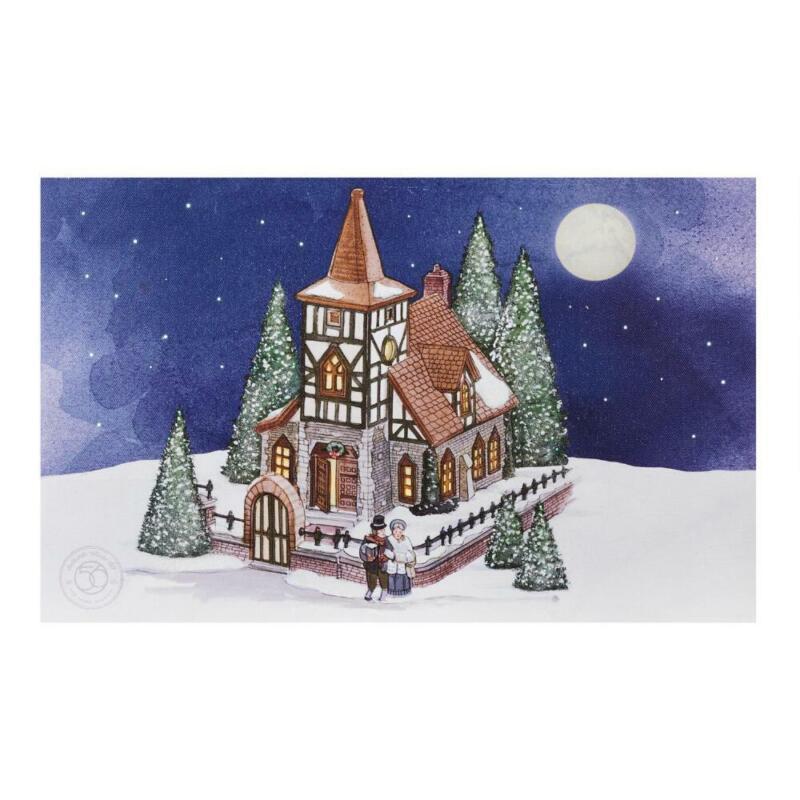 Department 56 Authentic Village Art Christmas Church Lit Canvas Decor 9.85 Inch