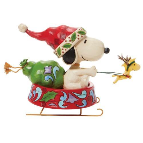 Enesco Jim Shore Santa Snoopy in Dog Bowl Sled