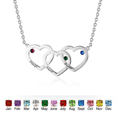 - Personalized Necklace 3 Heart Pendant Customized Necklace Birthstone Custom Name