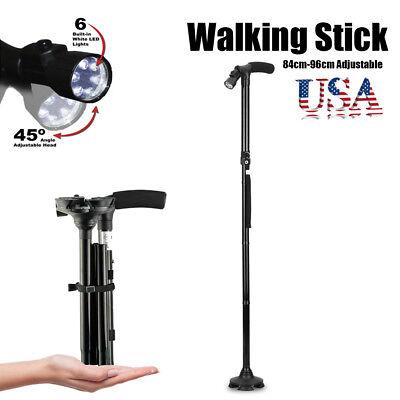 Foldable Trekking Walking Cane Stick Adjustable Height Non-Slip LED Light Safety
