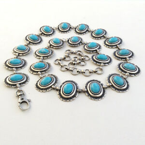 Women's Navajo Style Antique Silver & Turquoise Concho Belt S/M/L- MADE IN ITALY