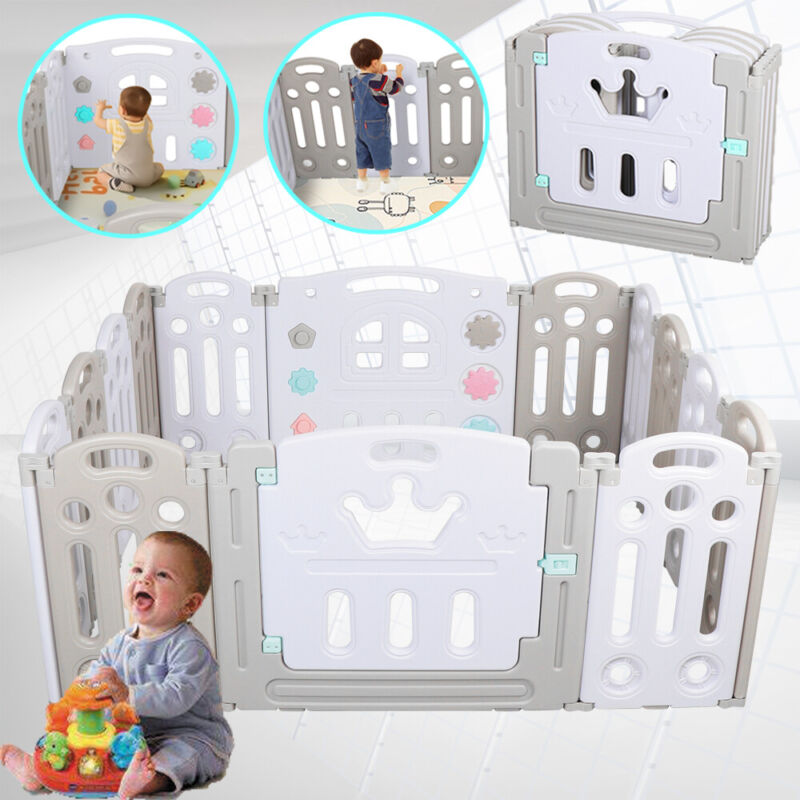Foldable 14 Panel Pen Fence Baby Playpen Kids Safety Play Center Yard Home Fence