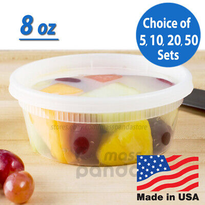8 oz Heavy Duty Small Round Deli Food/Soup Plastic Containers w/ Lids BPA free Heavy Duty Containers