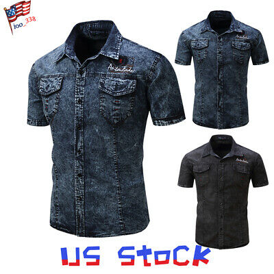 Men T-shirts Military Button Up Jeans Short Sleeve Denim Tops Slim Fit Casual US Denim Short Sleeve Jeans