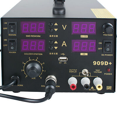 4 In1 110220v 909d Rework Soldering Station Power Supply Hot Heat Air Gun 800w