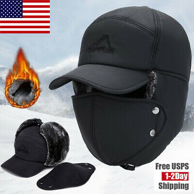 Mens Winter Trapper Aviator Trooper Hat Windproof Earflap Ski Face Mask Cap Warm Winter Ski Earflap