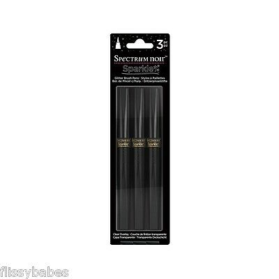 3 Spectrum Noir Sparkle Glitter Brush Pen Set - CLEAR OVERLAY - NEW