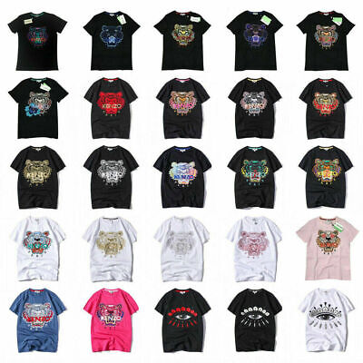 Men and Women New KENZO tiger head embroidery couple Short T-shirt All Color