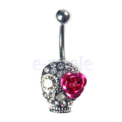 NEW Crystal Rhinestone Belly Button Ring Navel Bar Body Piercing Jewelry BE