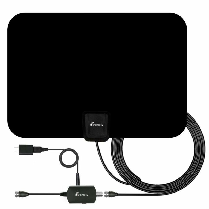 Vansky Indoor Amplified HDTV Antenna 50 Mile Range, NEW