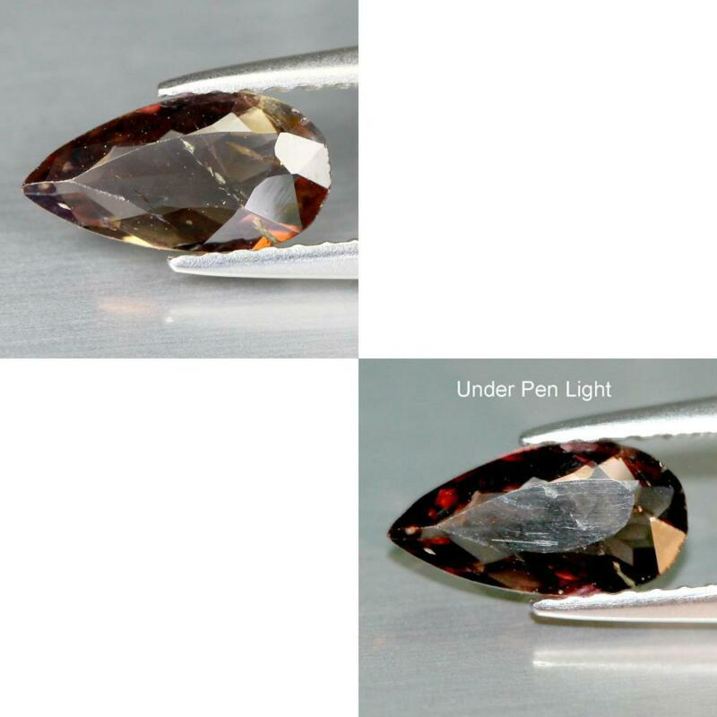 FREE SHIPPING 0.58CTS NATURAL COLOR CHANGE BROWN AXINITE PEAR GEMSTONE