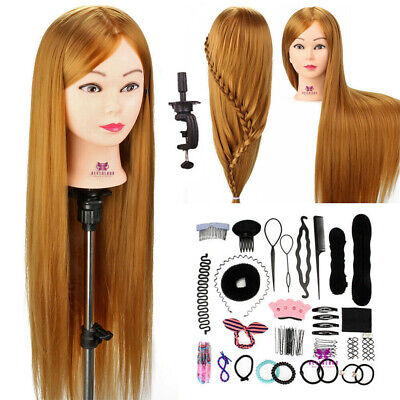"30"" Hair Training Head Hairdressing Synthetic Mannequin Doll + Clamp & Braid Set"