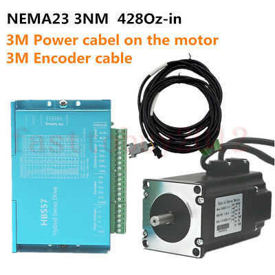 3nm Nema23 Closed Loop Stepper Motor 428oz-in Hybrid Servo Driver Control System