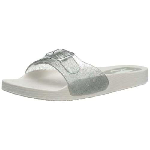 Ladies Womens Ella Mule Slip On Sparkly Glitter Footbed Sliders Beach Sandals