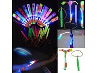 10PCS Rocket Flash Copter Neon Led Light Elastic Powered LED Arrow Helicopter summer
