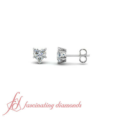 1 Ct Heart Shape Five Prong Diamond Solitaire Stud Earrings GIA Certified SI1
