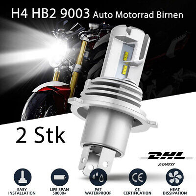 2x H4 LED Scheinwerfer Fahrlicht Birnen Hi/Lo DRL KFZ Motorrad Lampe Licht 6500K