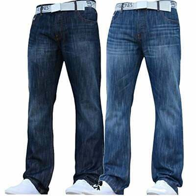 NEW MENS SMITH AND JONES BOOTCUT LEG DESIGNER BLUE JEANS FLARED ALL WAIST SIZES