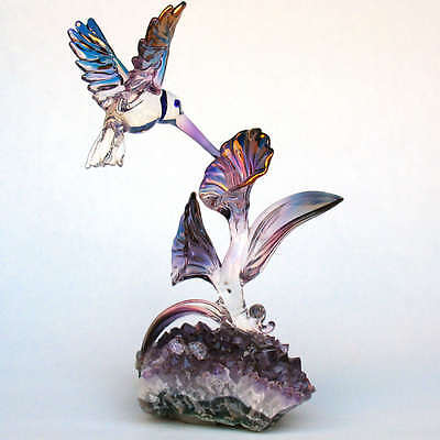 - Hummingbird Sculpture Blown Glass Amethyst Crystal Gold