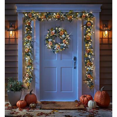 Christmas Cordless Prelit Fall Garden Wreath LED Lights for Door or Wall