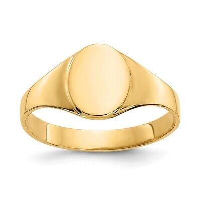 Genuine 14k Yellow Gold High Polished Oval Baby Signet Ring  0.82 gr - Gold Oval Signet Ring