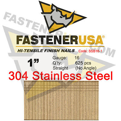 1 16 Gauge 304 Stainless Steel Straight Finish Nails 1 Inch 16 Ga 625 Ct