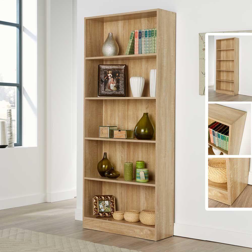 Bookcase Shelf Tall Wood Effect Shelves Bookshelf 171cm Shelving Unit Deep