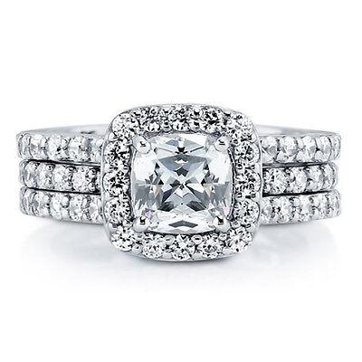 Bridal Set Silver Ring - Sterling Silver 925 Bridal CZ Cushion Cut Engagement Ring Wedding Band Set 5-10