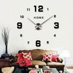 Modern DIY Large Wall Clock 3d Wall Sticker Frameless Watch Home Room Decor #7